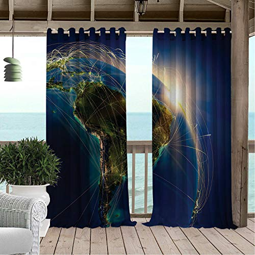 Linhomedecor Outdoor Waterproof Curtain Argentina Rising Sun Above Planet Earth at Night Embossed Continents Major Air Routes Multicolor Porch Grommets Print Curtain 120 by 84 inch