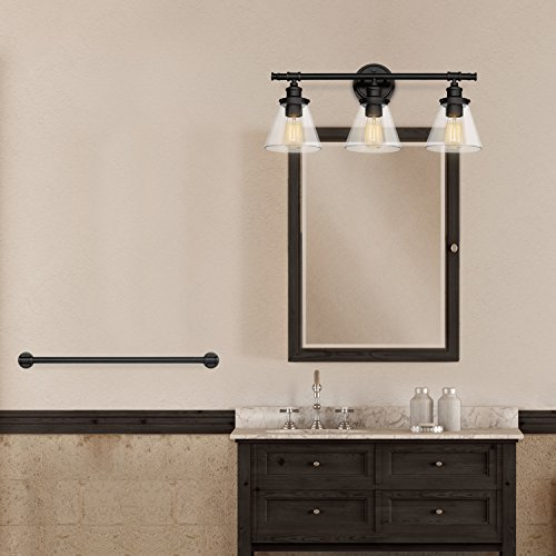 Globe Electric 50192 Parker, 5-Piece All-In-One Bath Set, Oil Rubbed Bronze Finish, 3-Light Vanity, Towel Bar, Towel Ring, Robe Hook, T.P, 0 by Globe Electric (Image #7)