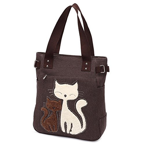 Casual Bag School Cute Vintage Design Daypack Style For Women Ladies Fashion Teenager Shopper Canvas Coffee Girl Simplified Tote Cat Handbag Elegant Z6n8FwAx