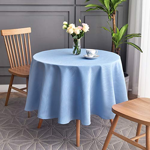maxmill Round Jacquard Tablecloths Swirl Design Spillproof Wrinkle Free Heavy Weight Soft Table Cloth for Circular Table Cover of Buffet Banquet Parties Holiday Dinner Round 90 Inch Sky Blue (Restaurant Phoenix Furniture)