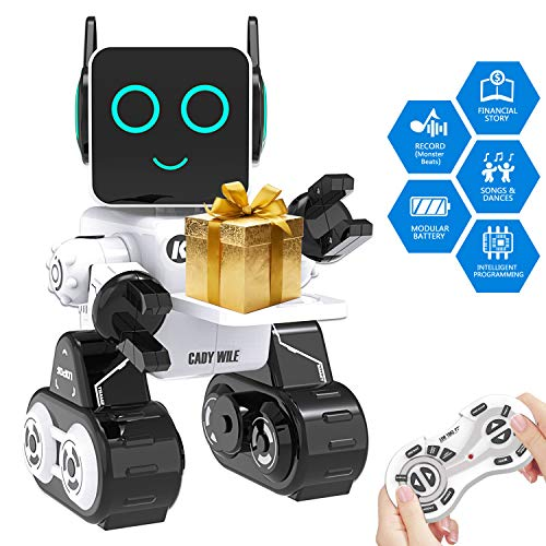 Remote Interactive Control Robots Toy,GMSUNNY Educational Stem Toys Robotics for Kids Sing,Dancing,Built-in Piggy Bank,Touch Control, Recorder,Rechargeable RC Robot Kit Gift for Boys and Girls (White)