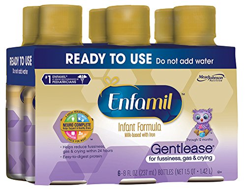 Enfamil Gentlease Infant Formula - Clinically Proven to reduce fussiness, gas, crying in 24 hours - Ready to Use Nursette Bottles, 8 fl oz (24 count)