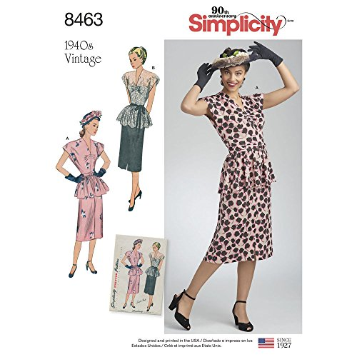463 Misses' Vintage 2-Piece Dress, Size R5 14-16-18-20-22 ()