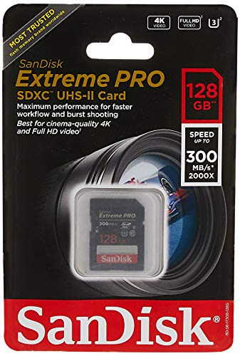 Sandisk Extreme Pro - Flash Memory Card - 128 GB - SDXC UHS-II - Black