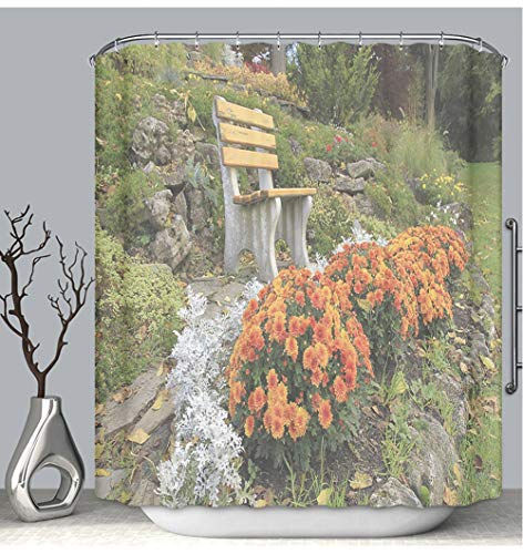 BEICICI Shower Curtain Liner Anti-Mildew Antibacterial Autumn Flowers in a Rock Garden Ontario Canada Custom Shower Curtain Bathtub Bathroom Accessories 72W×87Linch