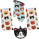 Kay Dee 4 Piece Kitchen Set - 2 Terry Towels, Oven Mitt, Potholder (Crazy Cat)
