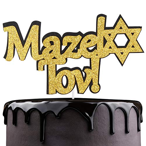 Bar Mitzvah Decor (Mazel Tov Congratulations Cake Topper - Jewish Bar Bat Mitzvah Star Of David Cake Décor - Cheers To Teenager 13th Birthday - Rosh Hashanah Happy New Year Party)