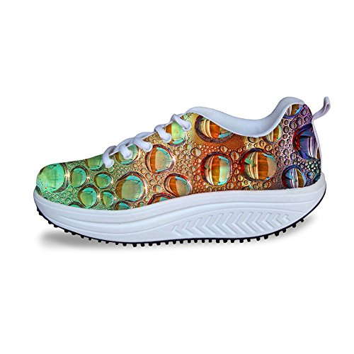 Womens Walking HUGSIDEA Ups Shape Colorful Multicolor 18 Sneakers Mesh aAwARq