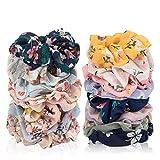 20 PCS Hair Scrunchies Set, Colorful Chiffon Flower Hair Scrunchies Hair Bow Elastic Hair Ties Bands for Women Girls Ponytail Holders