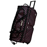 'E-Z Roll' 30' Fashionable Polka Dots Rolling Duffel Bag with 3 Colors (Black/Pink Dots)