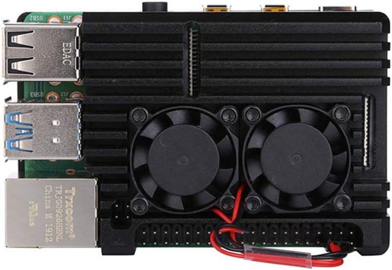 watersouprty Aluminum Alloy Enclosure Case Metal Shell Black Box Radiating Plate Heatsink Cooler for Raspberry Pi 4 Model B Accessories