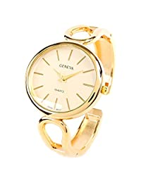 New Geneva Gold Metal Loop Style Band Oval Face Women's Bangle Cuff Watch