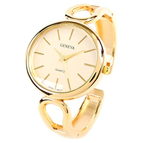 (Geneva New Gold Metal Loop Style Band Oval Face Women's Bangle Cuff Watch)