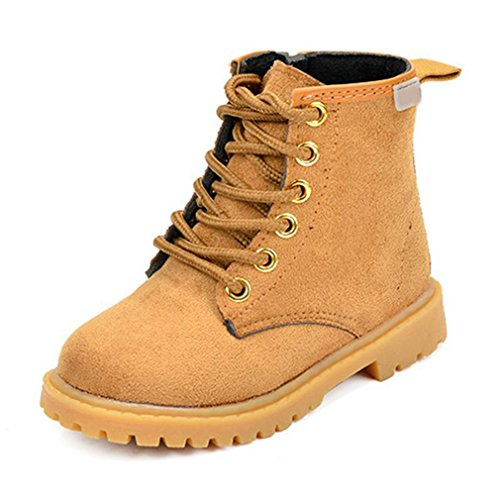 CYBLING Boys Girls Lace-Up Plush Combat Boots Hiking Shoes (Toddler/Little Kid)