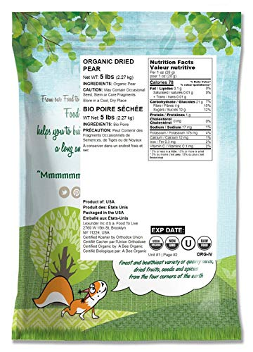 Organic Pears, 5 Pounds - California Sun-Dried Pear Halves, Non-GMO, Kosher, Unsulfured, Unsweetened, Non-Infused, Non-Oil Added, Non-Irradiated, Pesticide-Free, Vegan, Raw, Bulk by Food to Live (Image #1)