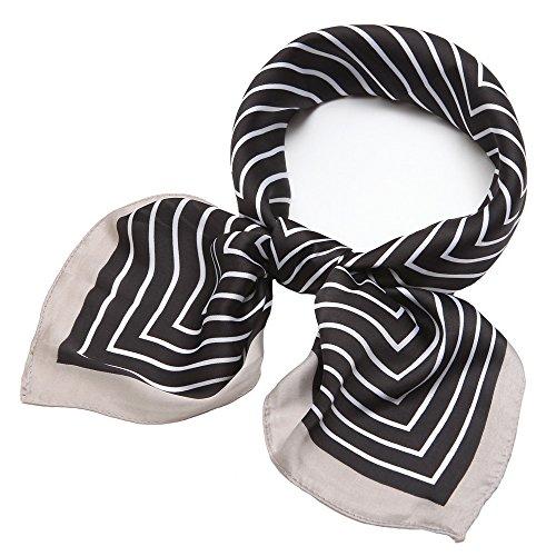 Silk Scarf Square Satin Headscarf Fashion Maze Neck Hair Scarves for Women (Striped Head Scarf)