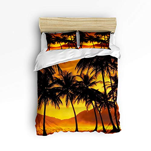 YEHO Art Gallery Queen Size Cute 3 Piece Duvet Cover Sets for Boys Girls,The Silhouette of Coconut Trees at Dusk,Decorative Bedding Set Include 1 Comforter Cover with 2 Pillow Cases