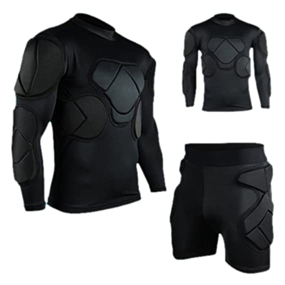 eeae8e4de5e KZY Set of 2 Long Sleeve and Short Pants Goalkeeper Clothes Elbow Pads  Helmet Kneecaps  Amazon.co.uk  Clothing