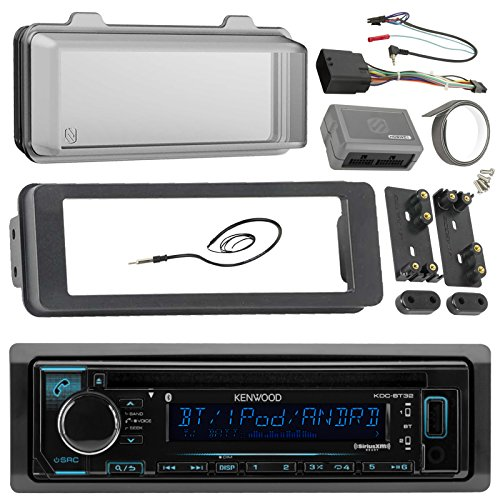 98-2013 Kenwood Harley Touring Install Adapter Dash Kit FLHT FLHTC FLHX CD MP3 AM/FM Radio Stereo With Bluetooth Streming Music With Steering Wheel Thumb Control Interface Enrock Antenna + Cover Cleveland Indians Hitch Cover