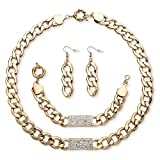 Best Palm Beach Jewelry Statement Necklaces - White Simulated Crystal Yellow Gold Tone Curb-Link I.D Review