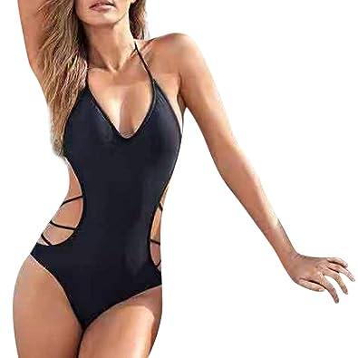 dcf73ae71ce Longra Women Swimwear,Beachwear Solid 1 Piece Hollow Bikini Swimsuit  Bathing Suit Black