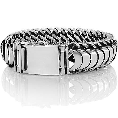 - SNAKE SCALES 925 Sterling Silver Men Wide Bracelet - Made in Thailand - 8.7