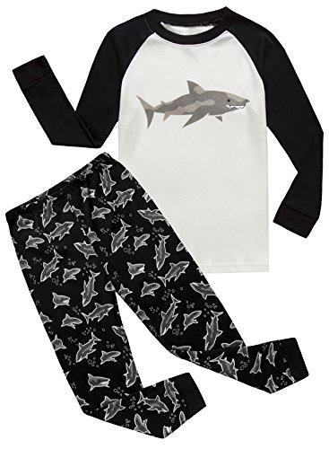 IF Pajamas Shark Little Boys Long Sleeve Pajamas Sets 100% Cotton Sleepwears Kids Pjs Size 6