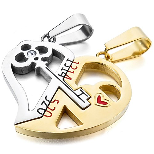 INBLUE Men,Women's 2 PCS Stainless Steel Pendant Necklace CZ Silver Gold Tone Jigsaw Puzzle Heart Key Lock Love Couple -With 20 and 23 Inch (Lock And Key Costume)