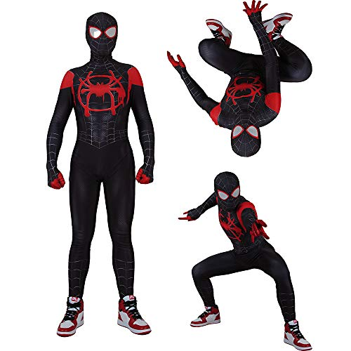 MYanimec Unisex Lycra Spandex Halloween New into The Spider Verse Miles Morales Cosplay Costumes Adult/Kids 3D Style