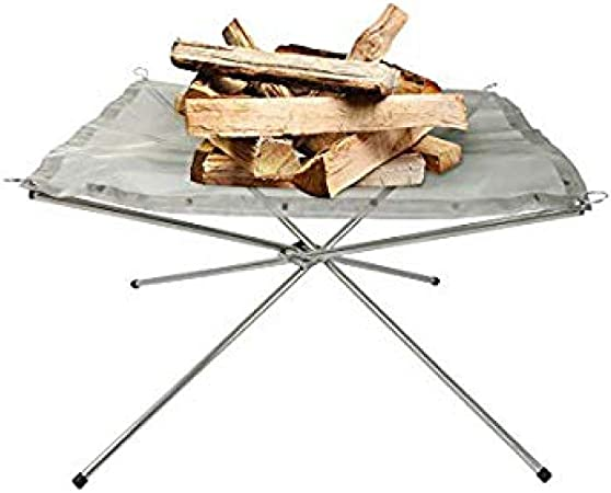 Perfect for Camping Outdoor Fire Pit Portable Stainless Steel Folding Wood Fire Pit Patio Garden and Backyard with Carrying Bag