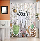 GouuoHi Home Shower Curtain Waterproof Mildew-reducing Thickening Shower Curtain Bathroom Cute Cartoon Animals Printed Pattern Soft Texture Durable Curtains (Color : 200 wide220 high)