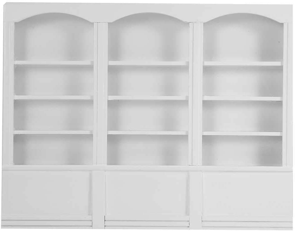 FAMKIT Miniature Dollhouse Display Cabinet - Dolls House Mini Furniture Glass Bookcase - 1/12 Scale (White)