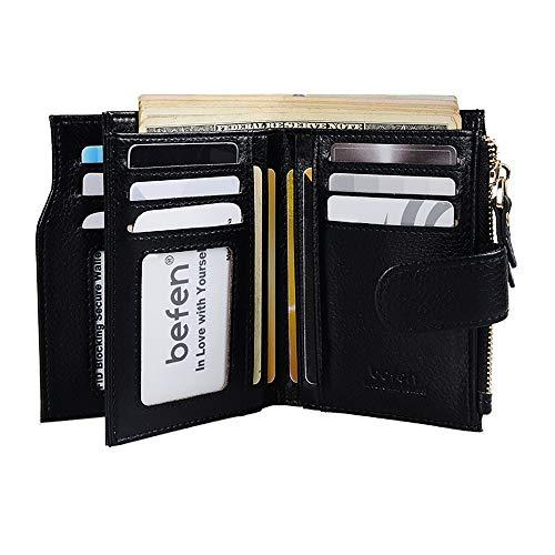 Befen Women's RFID Blocking Luxury Full Grain Genuine Leather Bifold Trifold Wallet Multi Card Organizer Holders for Ladies (Black RFID Wallet Small)