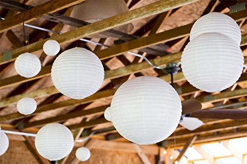 Selizo 25 Packs White Paper Lanterns with Assorted Sizes by Selizo (Image #5)