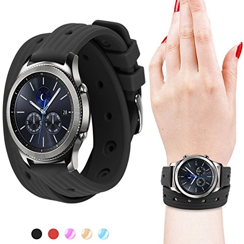 Gear S3 Bands, Soft Silicone Watch Bands for Women 22mm Rubber Watch Strap with Stainless Steel Buckle Double Tour Replacement Wristband for Samsung Gear S3 Frontier/Classic Smart Watch - Black - Stainless Steel Double Rubber