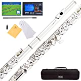 Mendini MFE-S Silver Plated Closed Hole C Flute + Case, Tuner, Stand, Cleaning Rod & Cloth, Grease, & Gloves