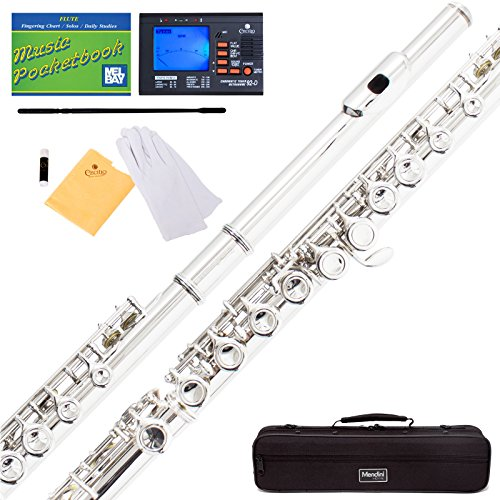 Mendini MFE-S Silver Plated Closed Hole C Flute + Case, Tuner, Stand, Cleaning Rod & Cloth, Grease, Gloves