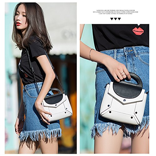 Borsa Punk Yoome Crossbody Colore Ribattini Bianco A Chain Style Bianca Vintage Handle Top Contrasto Handbags qfwAEwd