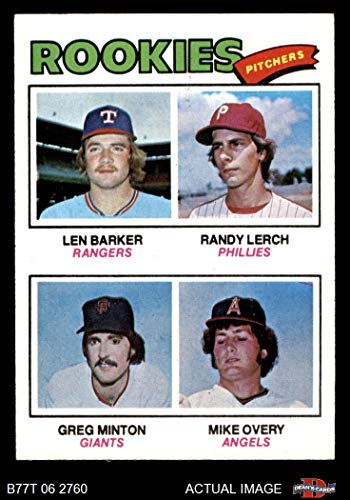 1977 Topps # 489 Rookie Pitchers Len Barker/Randy Lerch/Greg Minton/Mike Overy Rangers/Phillies/Giants/Angels (Baseball Card) Dean's Cards 5 - EX - Minton Pitcher