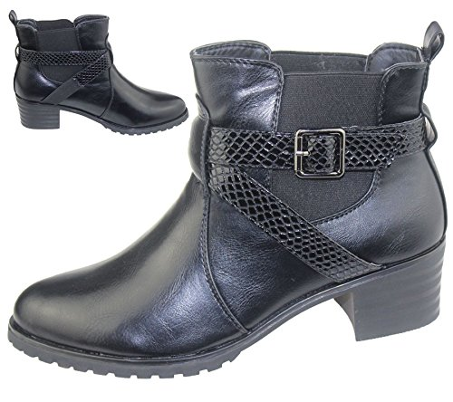 KOLLACHE Damen Stiefelette Damen Niedriger Absatz Chelsea High Top Casual Riding Desert Zip Schuhe