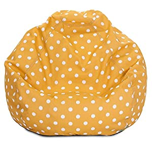Majestic Home Goods Classic Bean Bag Chair - Ikat Dots Giant Classic Bean Bags for Small Adults and Kids (28 x 28 x 22 Inches) (Citris Yellow)