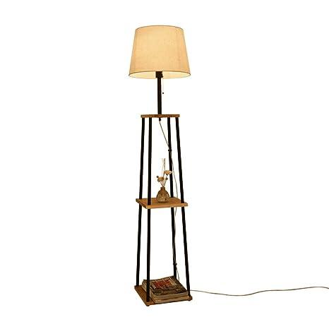 GJIF - Lámpara de pie Estante Lámpara de pie de Madera ...