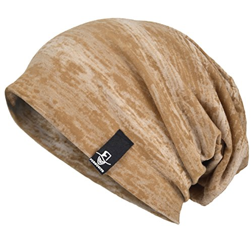 VECRY Men Slouch Hollow Beanie Thin Summer Cap Skullcap (Retro-Khaki)