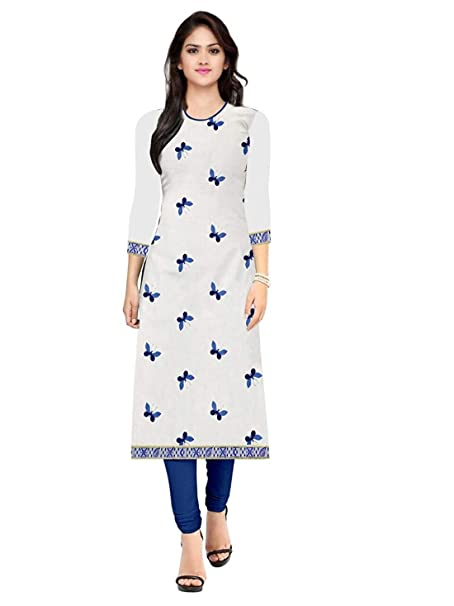 af35b65ed80 Overseas Women s Cotton Printed Kurti (OVS  TITLI WHITE