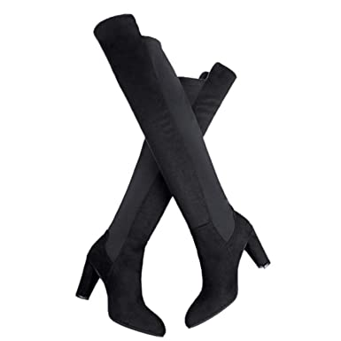 ef5133c7d445a Amazon.com: Women's thigh high suede over the knee boots sexy zipper ...