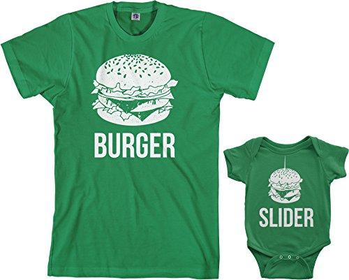 Onesie Food (Threadrock Burger & Slider Infant Bodysuit & Men's T-Shirt Matching Set (Baby: 6M, Kelly Green|Men's: S, Kelly Green))