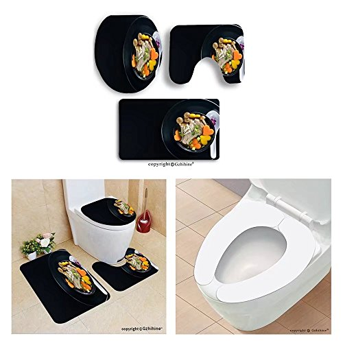 Gzhihine custom toilet seat three-piecepork rib soup with vegetable bowl on black - Easy Costume Cheetah