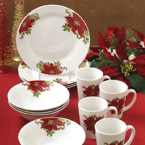 Amazon.com | Gibson Noble Poinsettia 12 Piece Dinnerware Set ...