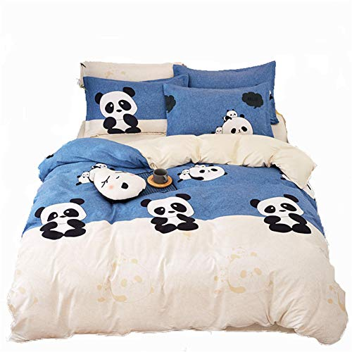 Vefadisa Panda Printed Bedding Set Duvet Cover Set for Teens Twin Size -4pcs Bedding Set- 1 Comforter Cover 2 Pillow Cover 1 Flat Sheet with Zipper Closure-Soft Cotton Bedspread Set -