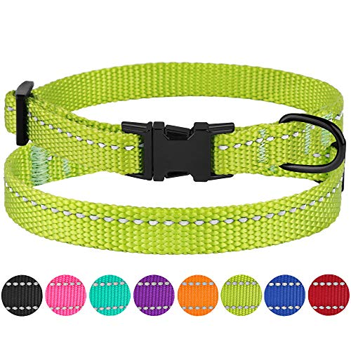 CollarDirect Small Dog Collar Nylon Reflective Puppy Collar Adjustable with Metal Buckle Black Pink Mint Green Lime Orange Red Purple Blue (Neck Fit 7